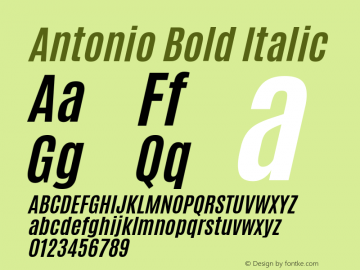 Antonio Bold Italic Version 1.000 Font Sample