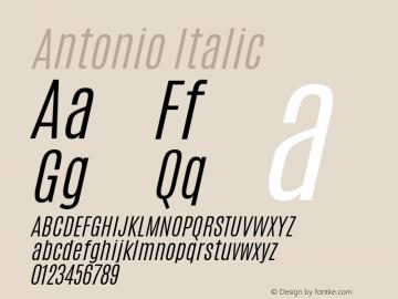 Antonio Italic Version 1.000 Font Sample