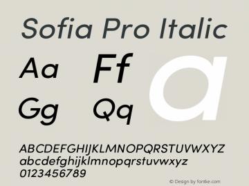 Sofia Pro Italic Version 2.000 Font Sample