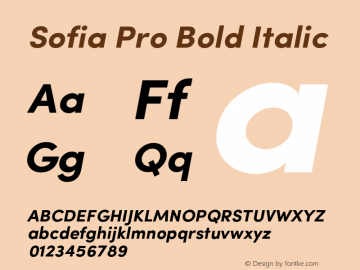 Sofia Pro Bold Italic Version 2.000 Font Sample