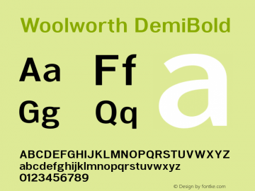 Woolworth DemiBold Version 1.000 Font Sample