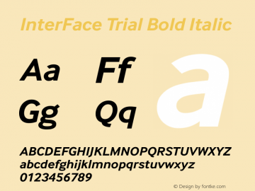 InterFace Trial Bold Italic Version 2.001图片样张