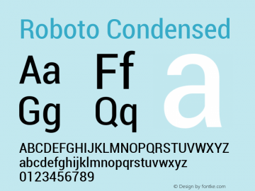 Roboto Condensed Version 1.00000; 2011 Font Sample