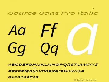 Source Sans Pro Italic Version 1.050;PS Version 1.000;hotconv 1.0.70;makeotf.lib2.5.5900 Font Sample
