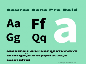 Source Sans Pro Bold Version 1.050;PS Version 1.000;hotconv 1.0.70;makeotf.lib2.5.5900 Font Sample