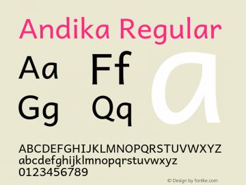 Andika Regular Version 5.000 Font Sample