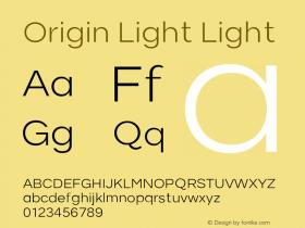 Origin Light Light Version 1.00 2014 Font Sample