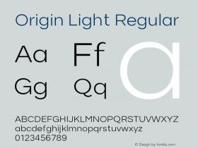 Origin Light Regular Version 1.000;PS 001.001;hotconv 1.0.56 Font Sample