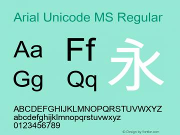 Arial Unicode MS Regular Version 0.85 Font Sample