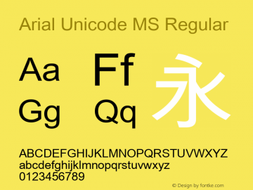 Arial Unicode MS Regular Version 0.84 Font Sample
