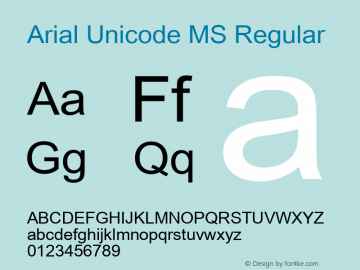 Arial Unicode MS Regular Version 1.00 Font Sample