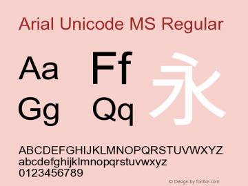 Arial Unicode MS Regular Version 1.01 Font Sample
