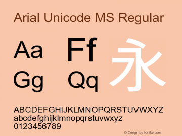 Arial Unicode MS Regular Version 1.01 Font Sample