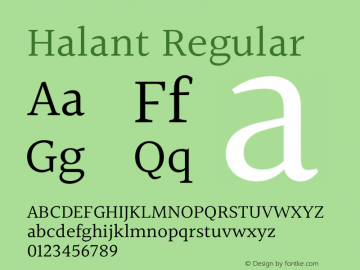 Halant Regular Version 2.000;PS 1.0;hotconv 1.0.79;makeotf.lib2.5.61930 Font Sample