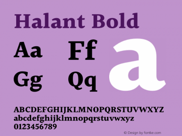 Halant Bold Version 2.000;PS 1.0;hotconv 1.0.79;makeotf.lib2.5.61930 Font Sample