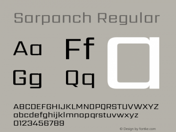 Sarpanch Regular Version 2.000;PS 1.0;hotconv 1.0.79;makeotf.lib2.5.61930 Font Sample