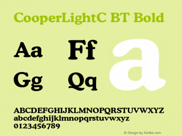 CooperLightC BT Bold Version 001.000 Font Sample