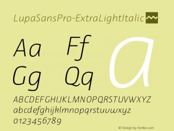 LupaSansPro-ExtraLightItalic ☞ Version 1.001;com.myfonts.mellediete.lupa-sans-pro.extra-light-ital.wfkit2.43HK Font Sample