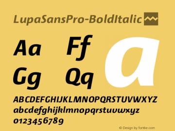 LupaSansPro-BoldItalic ☞ Version 1.001;com.myfonts.mellediete.lupa-sans-pro.bold-italic.wfkit2.43HC Font Sample