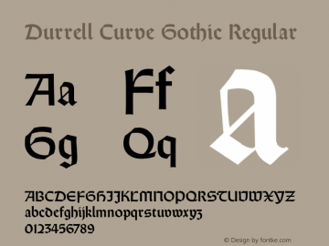 Durrell Curve Gothic Regular Unknown Font Sample