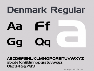 Denmark Regular Altsys Fontographer 3.5  9/25/92 Font Sample