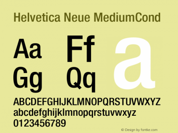 Helvetica Neue MediumCond Version 001.000图片样张