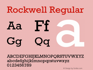 Rockwell Regular Version 1.65 Font Sample