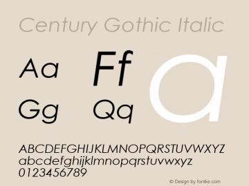 Century Gothic Italic Version 2.35 Font Sample