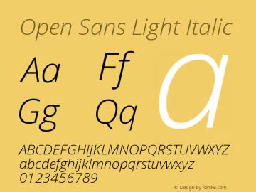 Open Sans Light Italic Version 1.10 Font Sample