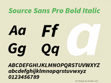 Source Sans Pro Bold Italic Version 1.050;PS 1.000;hotconv 1.0.70;makeotf.lib2.5.5900 Font Sample