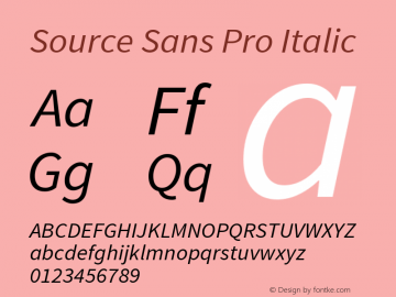 Source Sans Pro Italic Version 1.050;PS 1.000;hotconv 1.0.70;makeotf.lib2.5.5900 Font Sample