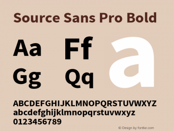 Source Sans Pro Bold Version 1.050;PS 1.000;hotconv 1.0.70;makeotf.lib2.5.5900 Font Sample