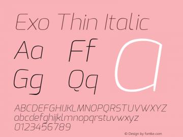 Exo Thin Italic Version 1.00 ; ttfautohint (v0.94) -l 8 -r 50 -G 200 -x 14 -w