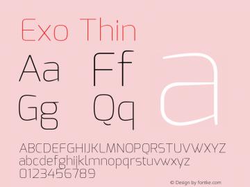 Exo Thin Version 1.00 ; ttfautohint (v0.94) -l 8 -r 50 -G 200 -x 14 -w