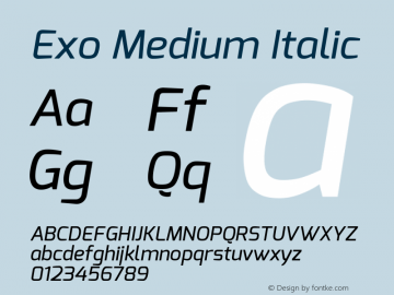Exo Medium Italic Version 1.00 Font Sample