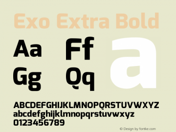Exo Extra Bold Version 1.00 Font Sample