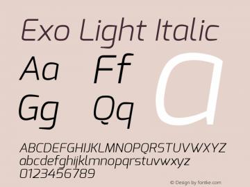 Exo Light Italic Version 1.00 ; ttfautohint (v0.94) -l 8 -r 50 -G 200 -x 14 -w