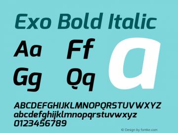 Exo Bold Italic Version 1.00 ; ttfautohint (v0.94) -l 8 -r 50 -G 200 -x 14 -w