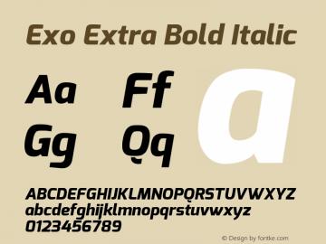 Exo Extra Bold Italic Version 1.00 Font Sample