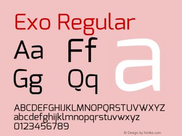 Exo Regular Version 1 ; ttfautohint (v0.94) -l 8 -r 50 -G 200 -x 14 -w