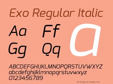 Exo Regular Italic Version 1.00 ; ttfautohint (v0.94) -l 8 -r 50 -G 200 -x 14 -w