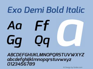 Exo Demi Bold Italic Version 1 Font Sample