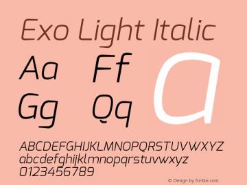 Exo Light Italic Version 1.00 Font Sample
