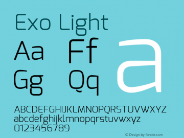 Exo Light Version 1.00 ; ttfautohint (v0.94) -l 8 -r 50 -G 200 -x 14 -w