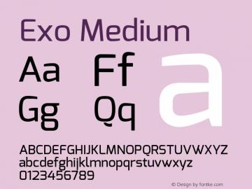 Exo Medium Version 1.00 ; ttfautohint (v0.94) -l 8 -r 50 -G 200 -x 14 -w
