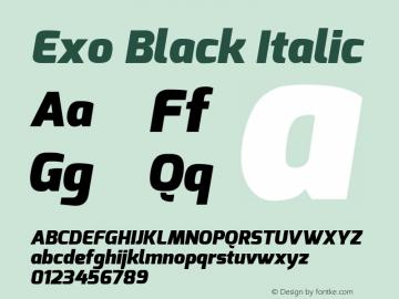 Exo Black Italic Version 1.00 ; ttfautohint (v0.94) -l 8 -r 50 -G 200 -x 14 -w