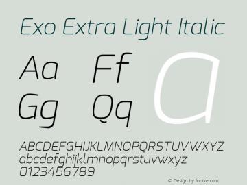 Exo Extra Light Italic Version 1.00 ; ttfautohint (v0.94) -l 8 -r 50 -G 200 -x 14 -w