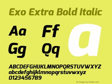 Exo Extra Bold Italic Version 1.00 ; ttfautohint (v0.94) -l 8 -r 50 -G 200 -x 14 -w