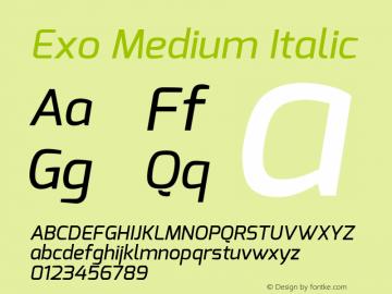 Exo Medium Italic Version 1.00 ; ttfautohint (v0.94) -l 8 -r 50 -G 200 -x 14 -w