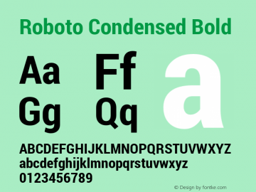 Roboto Condensed Bold Version 1.100140; 2013 Font Sample